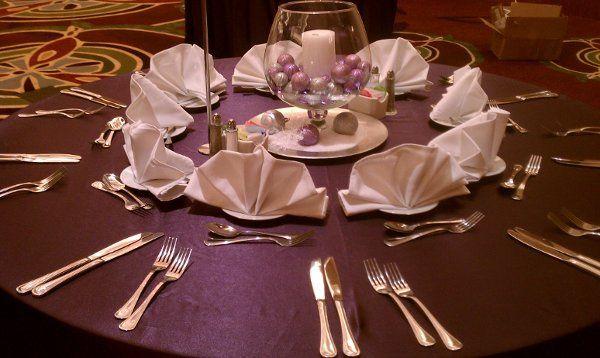 Tmx 1323060980302 Eggplantsatintablesetting Springfield wedding rental