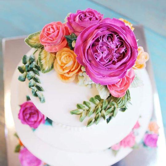 Details of buttercream flowers