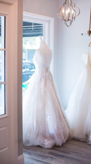 The wedding dress window display | Compliments of Tori Shelstad photography