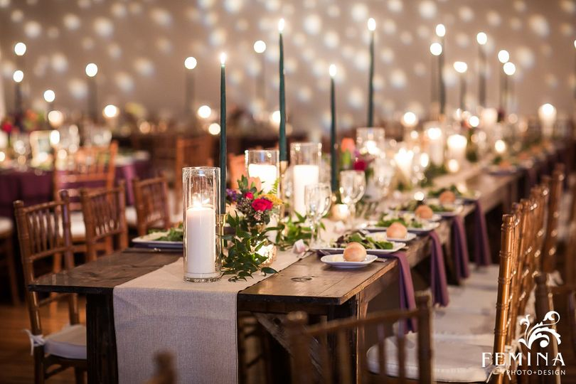 Candlelit table and decor