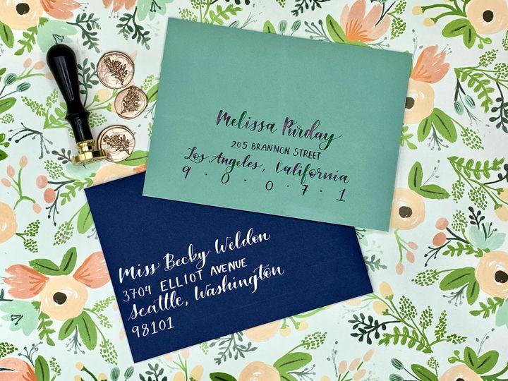 Colorful wedding envelopes