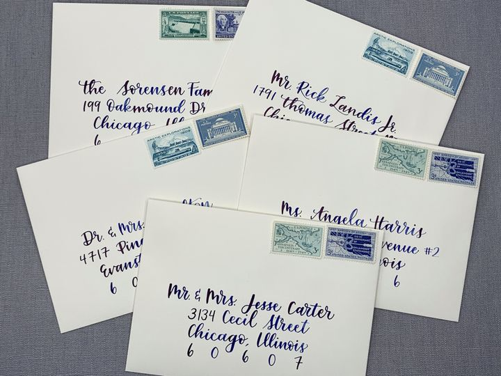 Tmx Blue Ink Wedding Envelopes Chicago Calligrapher Ac Letters Calligraphy 51 1971121 159519266696113 San Diego, CA wedding invitation