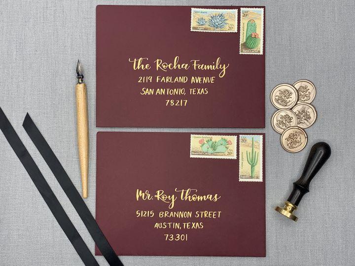 Tmx Gold Wedding Envelopes Texas Calligrapher Ac Letters Calligraphy 51 1971121 159519267625783 San Diego, CA wedding invitation