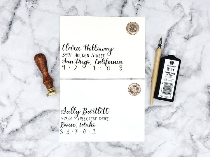 Tmx Modern Calligraphy Wedding Envelopes Ac Letters Calligraphy 51 1971121 159277304713939 San Diego, CA wedding invitation