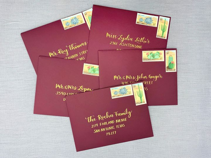 Tmx Texas Wedding Envelope Calligraphy Ac Letters Calligraphy 51 1971121 159277304566972 San Diego, CA wedding invitation