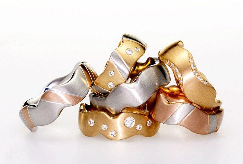 Carved wedding rings