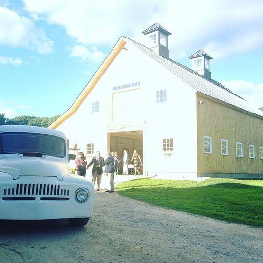 Vintage cars and barns