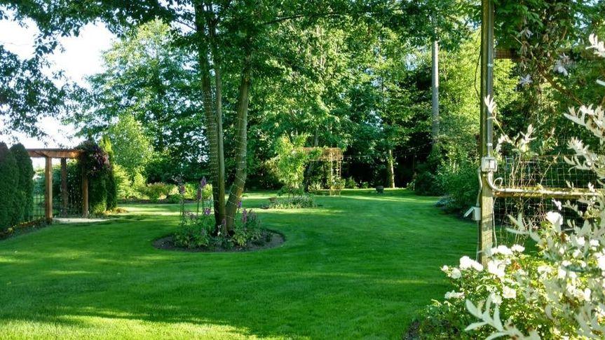 The lush green surroundings
