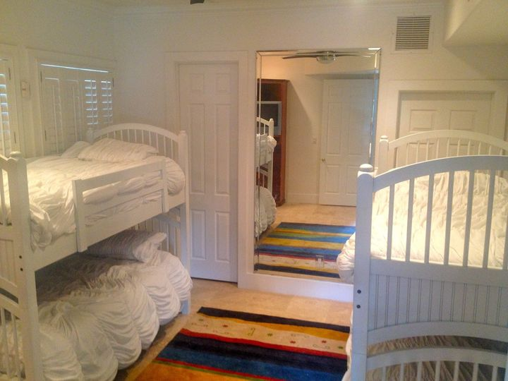 One of the downstairs bedrooms. This room has two sets of bunk beds.