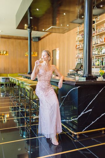 Enjoying champagne at the bar