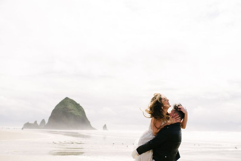 Haystack Rock, Oregon, wedding.