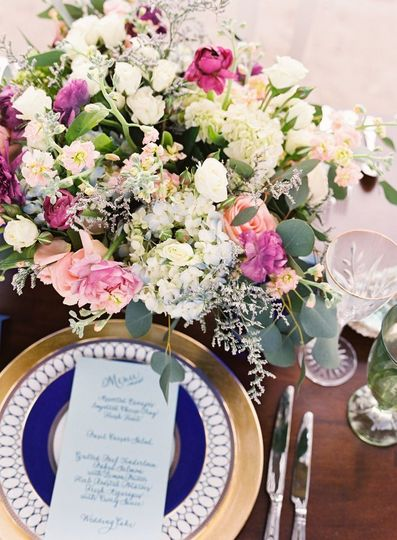 blue gold cream and mauve palette for wedding