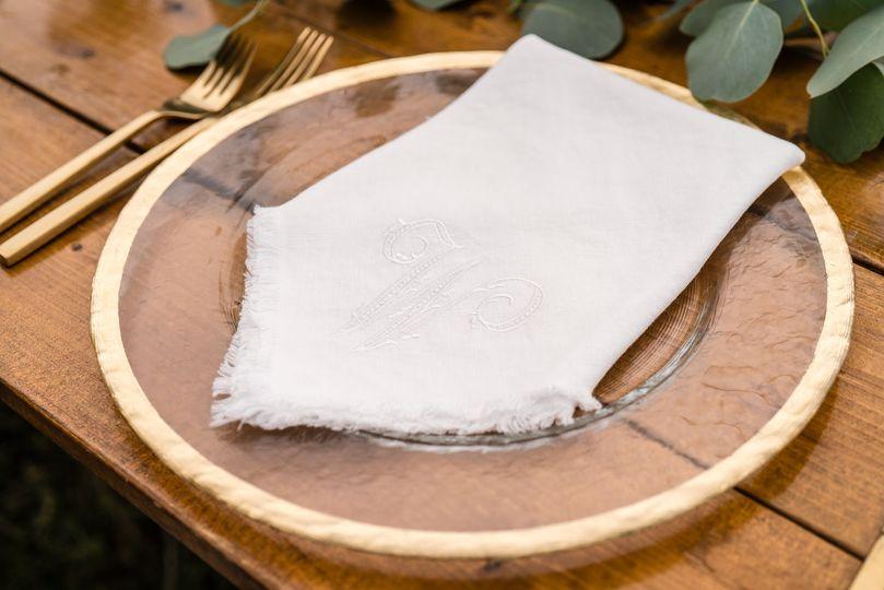 Monogrammed cloth napkin