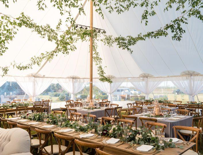 Sailcloth tent reception