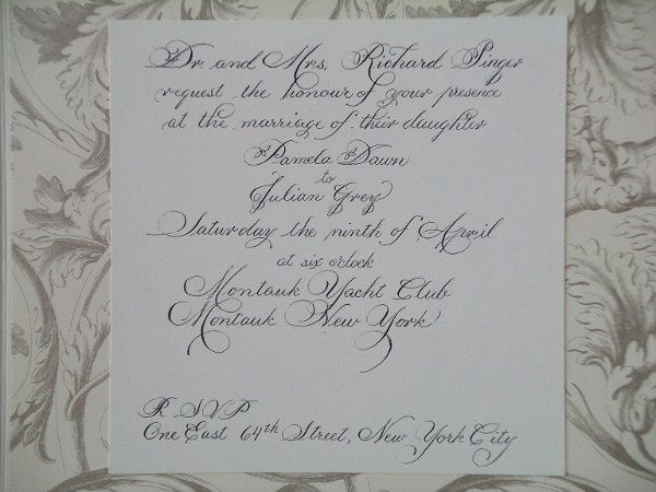 Hand drawn Wedding Invitation reproduced by invitation seller