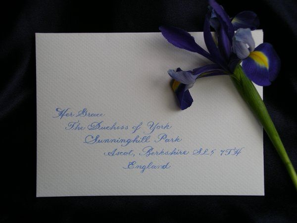 This envelope is addressed to  Her Grace the Duchess of York in blue ink on an off white envelope.