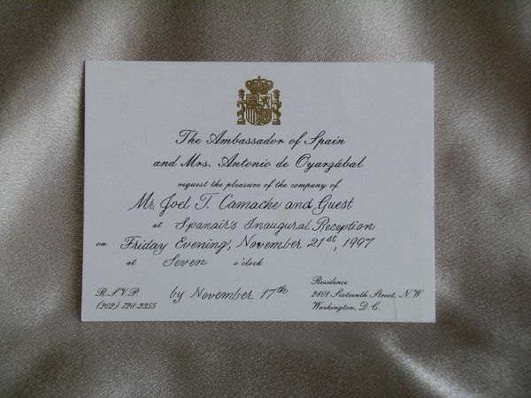 Completed the preprnted invitation for a function hosted by the Ambassador of Spain.