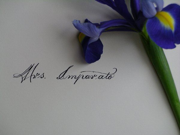 An inner envelope addressed to Mrs. Imperato in a calligraphy style designed by Melanie Roth.  It is...