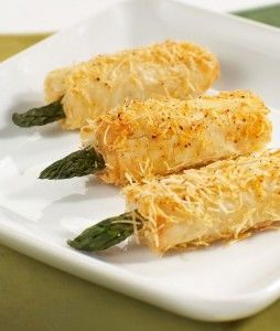 Crispys asparagus with asiago: Fresh cut asparagus wrapped in phyllo roll and covered in asiago...