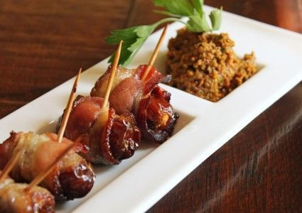 Dates and blue wrapped in bacon: sweet dates stuffed with savory, creamy bleu cheese, then wrapped...