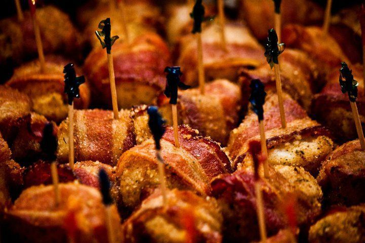 Scallops wrapped in bacon: plump sea scallops wrapped with smoked bacon