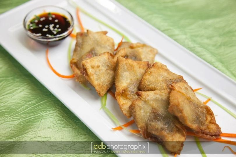 Vegetable wontons: Stuffed with Asian vegetables and deep fried Served with hoisin sauce
