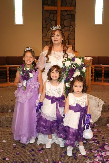 The bride and the flower girls