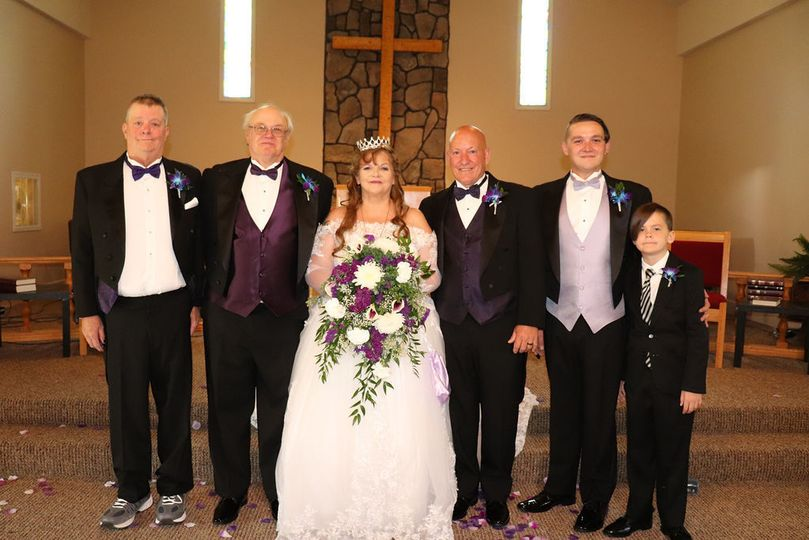 The couple and the groomsmen