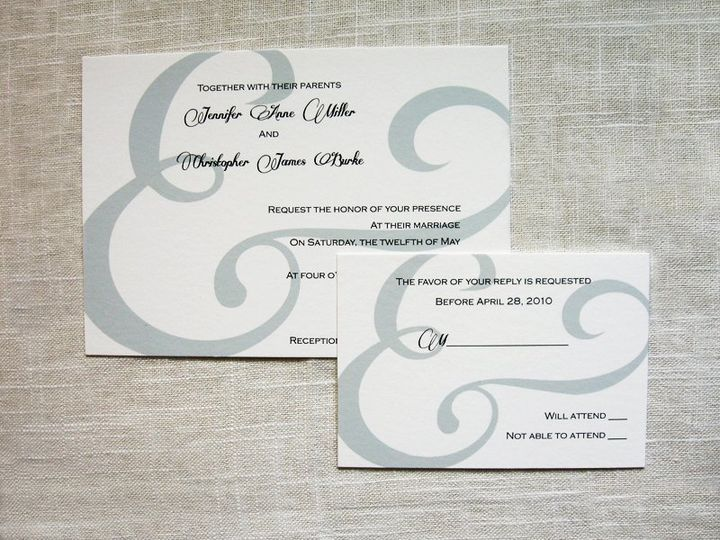 invitation and reply card with a modern ampersand motif