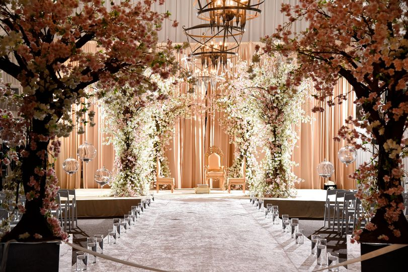 Orchid trees ceremony decor