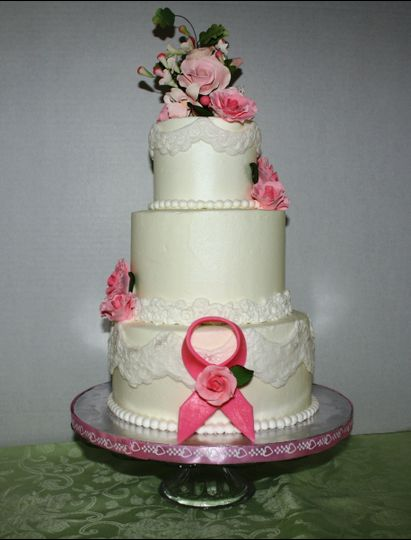 wedding cake with cancer ribbon