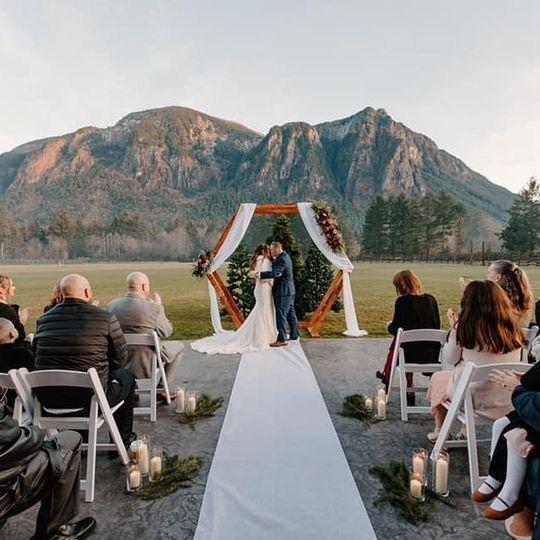 Winter wedding on the patio