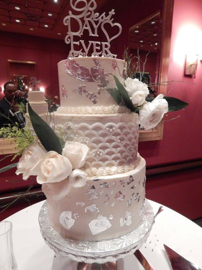 Three tiers with white silver floral