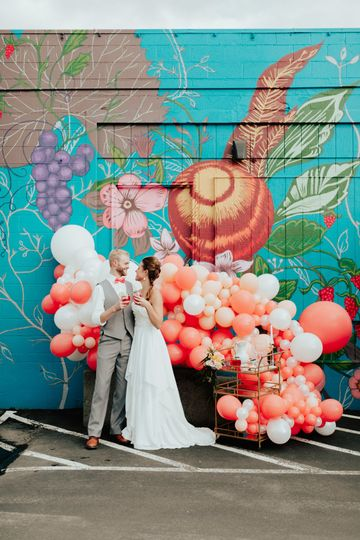 Colorful balloon installation