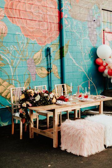 Colorful, modern wedding design