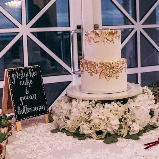 Gold hand-painted fondant cake