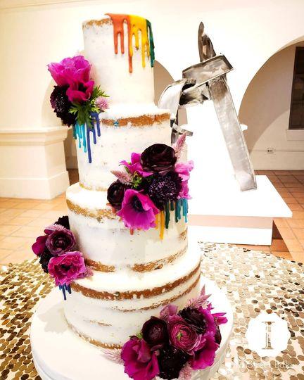 Color pop naked cake