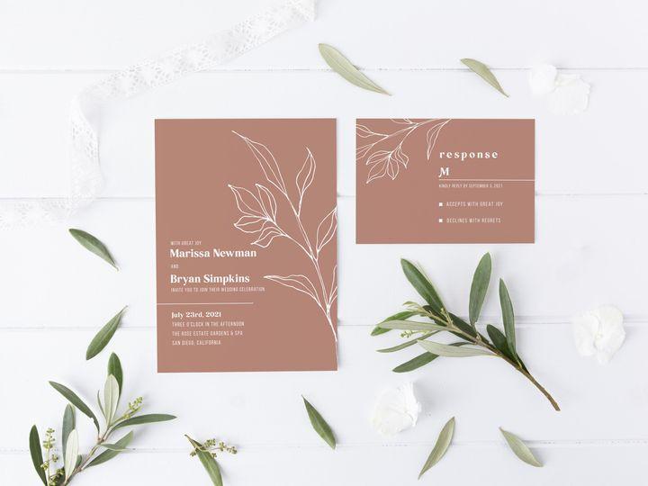 Tmx Botanicallineart Invitersvp Brown 51 1981321 159846936912883 Holly Springs, NC wedding invitation