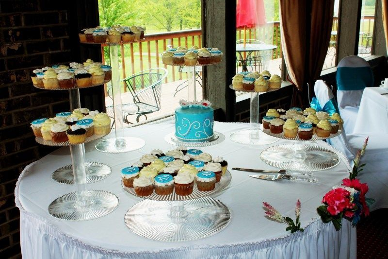 Wedding cake and cupcakes