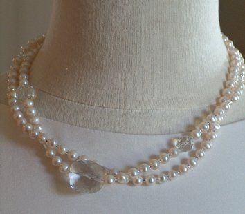 Freshwater Pearls, and Crystal Quartz Bridal Necklace Original Design by MARINELLA jewelry. Wear...