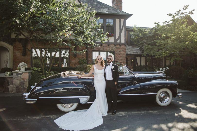 Couple beside a classic car - Rebecca Peplinski Photography