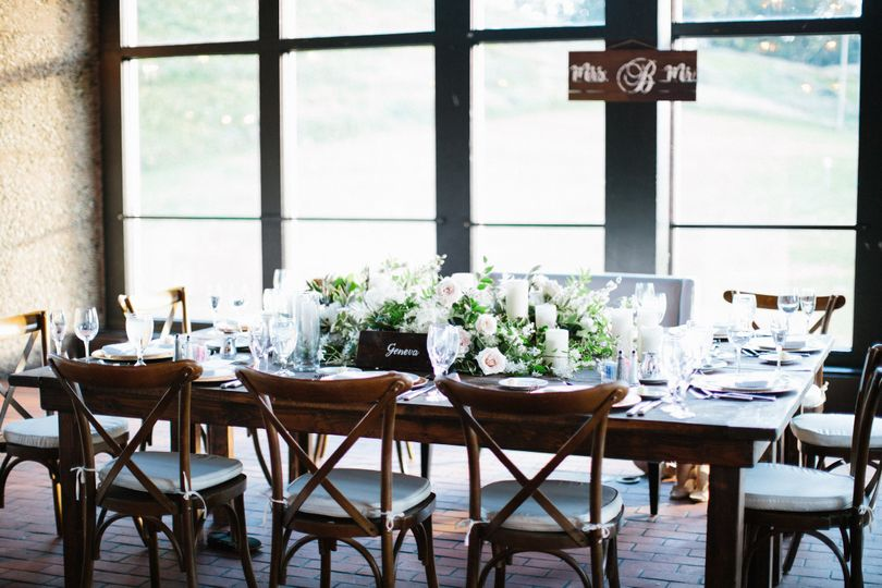 Simply decorated wedding table set up