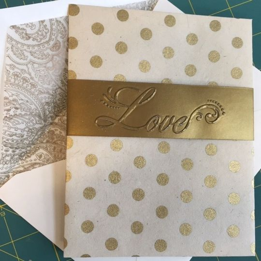 Elegant, custom designed cream and gold invitation