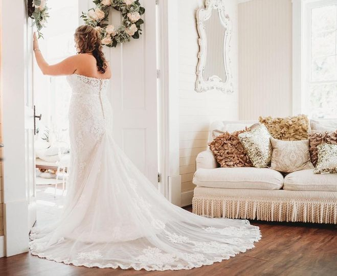 Beautiful wedding gown trail