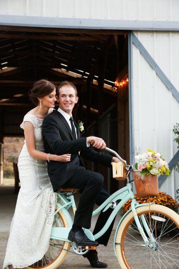 Newlyweds biking