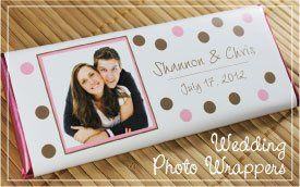 Wedding photo candy bar wrapper.