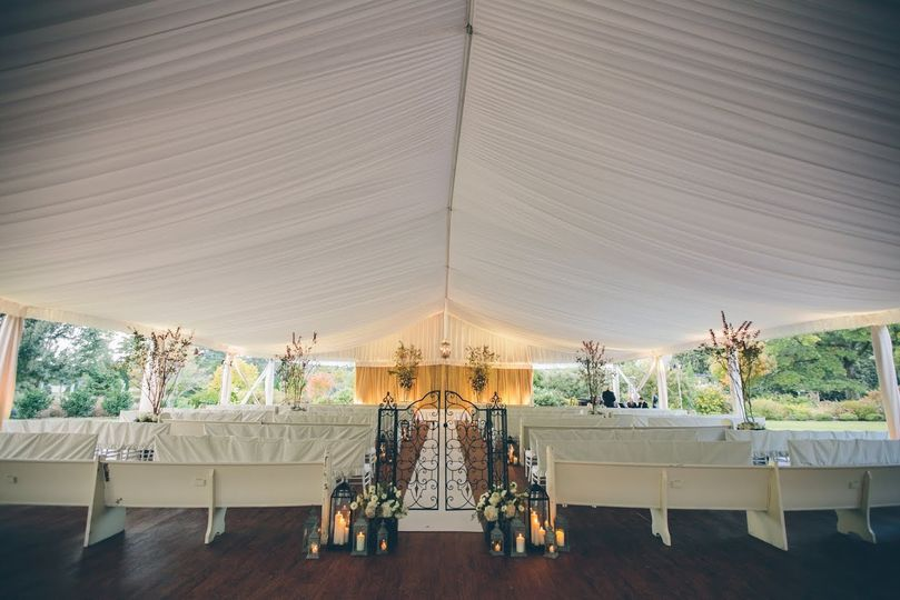 Ceremony altar setting for outdoor tents!