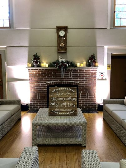 Uplighting by the fireplace