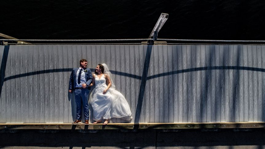 Birdseye view of newlyweds - Louis View Photography