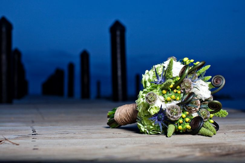 Shite lisianthus, green hypericum berry, green hydrangea, uhele fern, scabiosa pods, blue thistle...